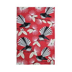 Teatowel Flirting Fantails Red