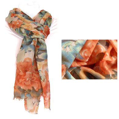 Scarf Camellias Peach