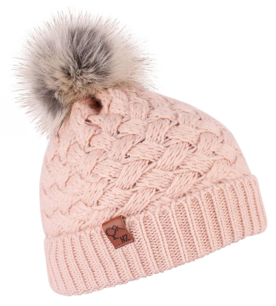 Beanie Wool Faux Fur Pom Pom Dusty Pink