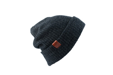 Beanie Wool Mix Ribbed Charcoal
