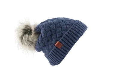 Beanie Wool Faux Fur Pom Pom Blue