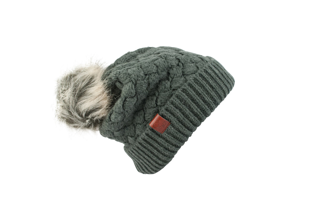 Beanie Wool Faux Fur Pom Pom Grey
