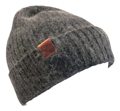 Beanie Angora Wool Mix Ribbed Charcoal