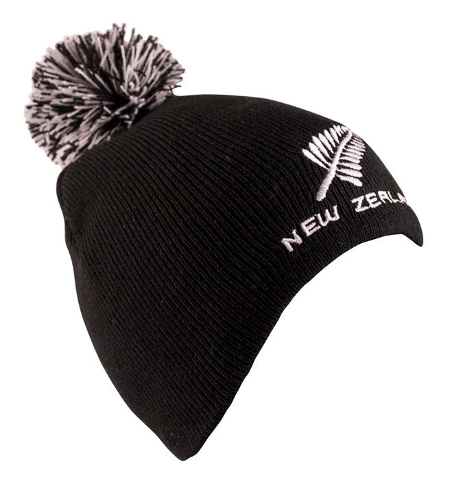 Beanie Sports Fern Kids Pom Pom Black