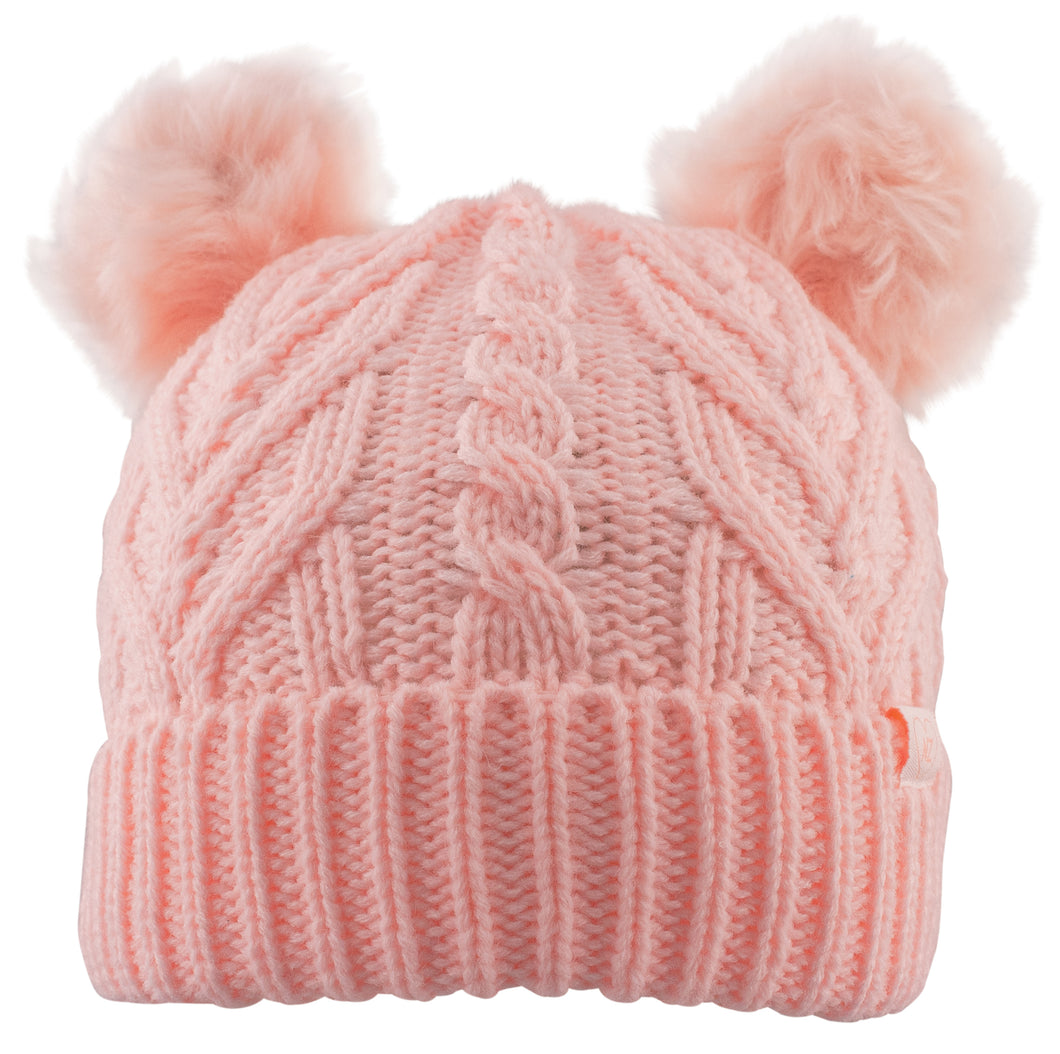 Beanie Girls Double Faux Fur Pom Pom