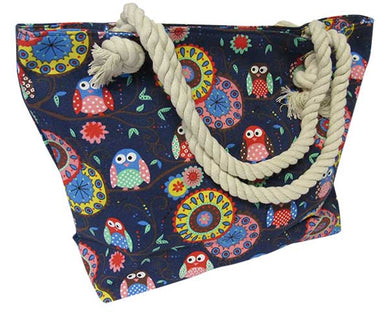 Rope Tote Bag Colourful Owl
