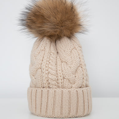 Beanie with Detachable Pom Pom - Off white
