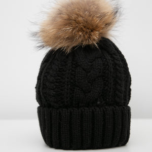 Beanie with Detachable Pom Pom - Black