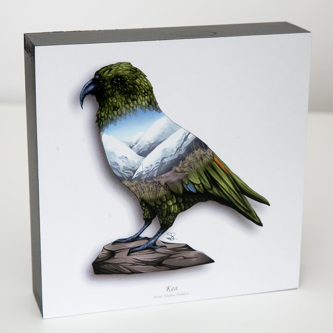 Art printed block - Kea