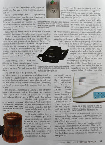 Tobacco Retailer Magazine Smoke Removal Article March/April 2009 Clearing The Air p2