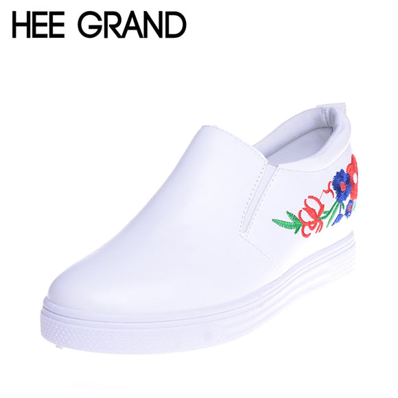 HEE GRAND Embroidery Shoes Woman Increased Internal Platform White Fashion Shoes XWD5941