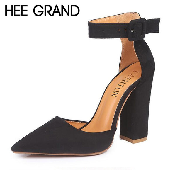 HEE GRAND 2018 New Women Thick Heel Pumps with Buckle Flock Vamp Elegant Lady's Ankle Lace Women Fashion Sandals XWZ4924