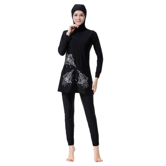 3XL Muslim Sets Floral Print Islamic Swimwear Women Girl Swimwear Full Cover Modest Islamic Swimming Suits Burkinis Plus Size T6
