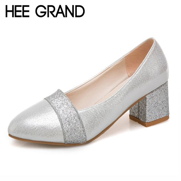 HEE GRAND Women's Pumps PU Leather Round Toe Thick Heels Shoes Bling Vamp Woman Solid Shoes Ladies Shoes 35-41 XWD6817