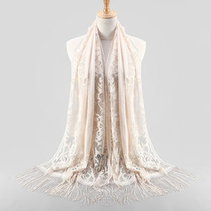 Women Muslim Islamic Tassel Lace Hollow Long Hijab Scarf Shawl Wrap Stole