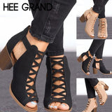 HEE GRAND Women Thick Heel Pumps 2018 New Sexy Style Women Peep Toe Pumps Flock Leather Autumn Shoes with Zipper Pumps WXG564