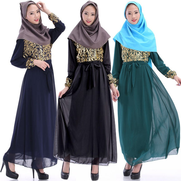 New Womens Vintage Kaftan Abaya Islamic Muslim Cocktail Long Sleeve Maxi Dress