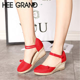 HEE GRAND Sandals Casual Linen Canvas Wedge Summer Ankle Strap Med Heel Platform Women's Solid Leisure Pumps Mujer Shoes XWZ5323
