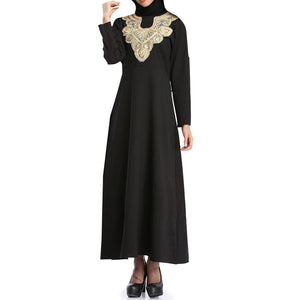 Muslim Women Islamic Pure Color Embroider  Plus Size Middle East Long Dress