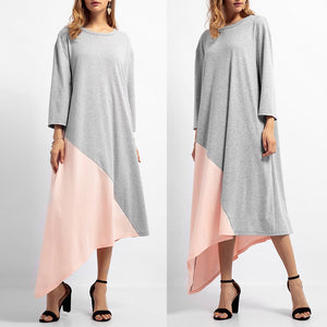 Women Solid Long Dress O Neck Islamic Muslim Middle East Maxi Robe Dresses