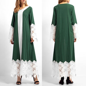 Women Lace Patchwork Long Sleeves Islamic Muslim Middle East Maxi Robe Dresses
