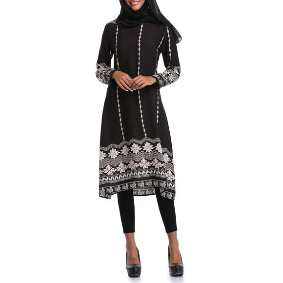 Muslim Women Islamic Printing Long sleeves Plus Size Middle East Long Dress