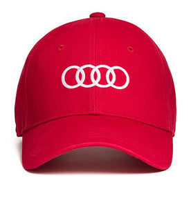 Red Adjustable Ballcap Hat w/ White Audi Logo