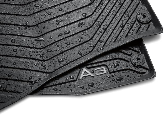 2015+ A3/A3 e-tron/S3/RS3 All Weather Rubber Rear Floor Mat Set