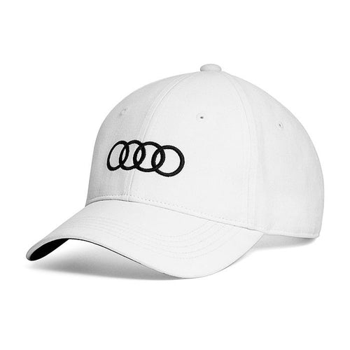 White Adjustable Ballcap Hat w/ Black Audi Logo