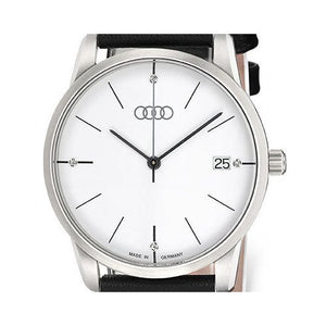 Women's White Faced Watch w/ Black Leather Band- CLEARANCE