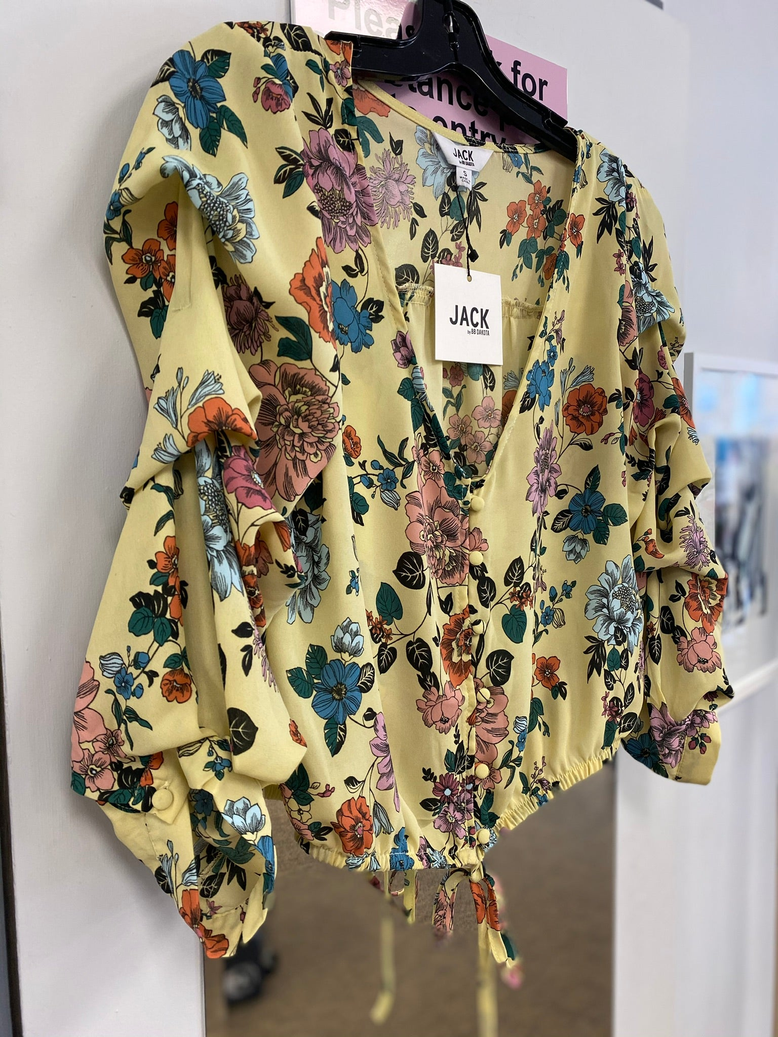 JACK by BB Dakota Yellow Floral Blouse - sale