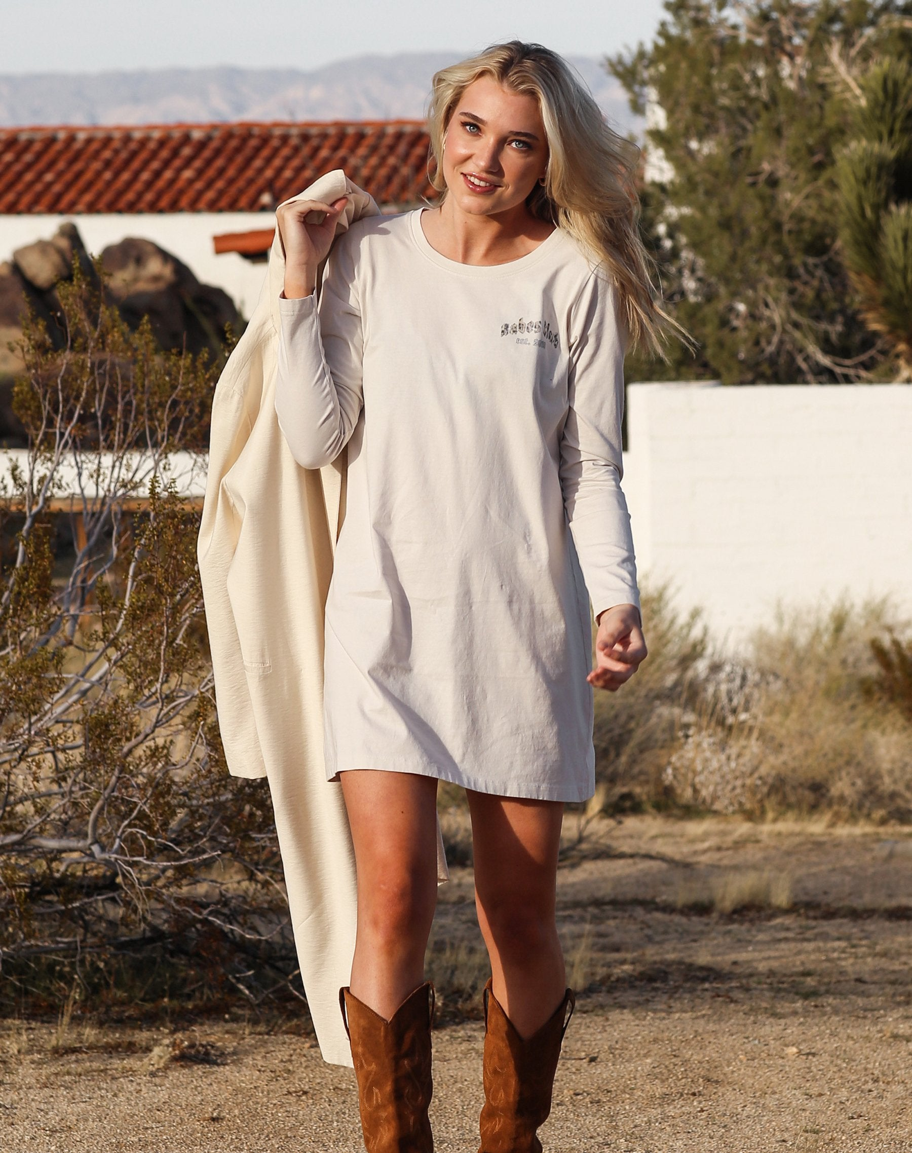 "The ""BABES CLUB"" Vintage Long Sleeve Dress"
