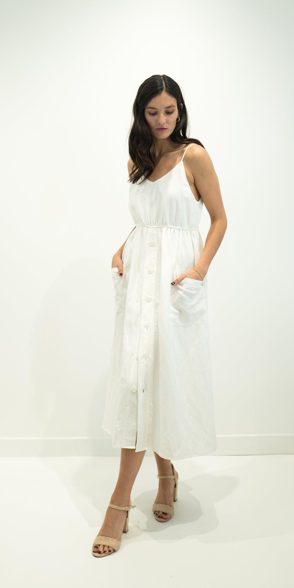 Smock Midi Dress - white - sale