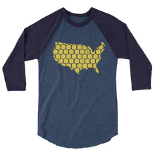 Load image into Gallery viewer, USA honeycomb 3/4 sleeve raglan shirt