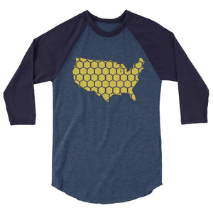 USA honeycomb 3/4 sleeve raglan shirt