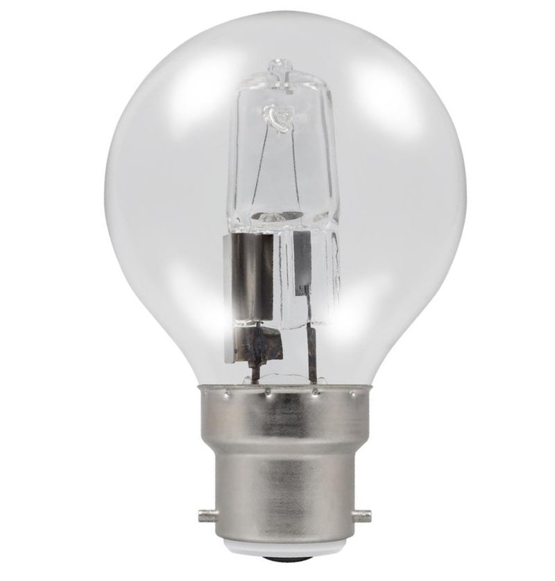 Casell GB28BC-H-CA - Golf Ball 28w Ba22d/BC 240v Clear Energy Saving Halogen Light Bulb
