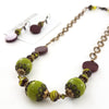 Chartreuse and Chocolate Necklace and Earring Set