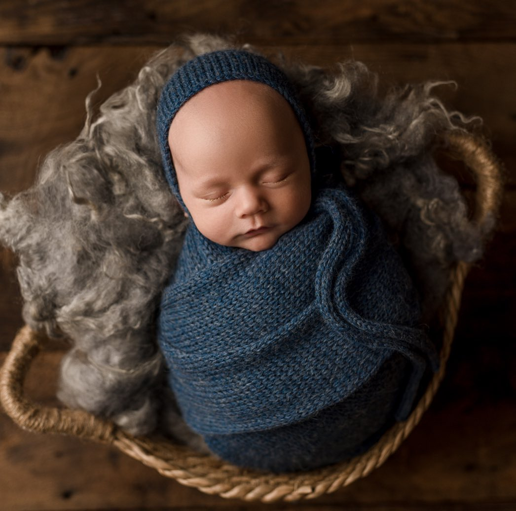 Denim Blue Alpaca Bonnet, Sleepy Hat, or Wrap