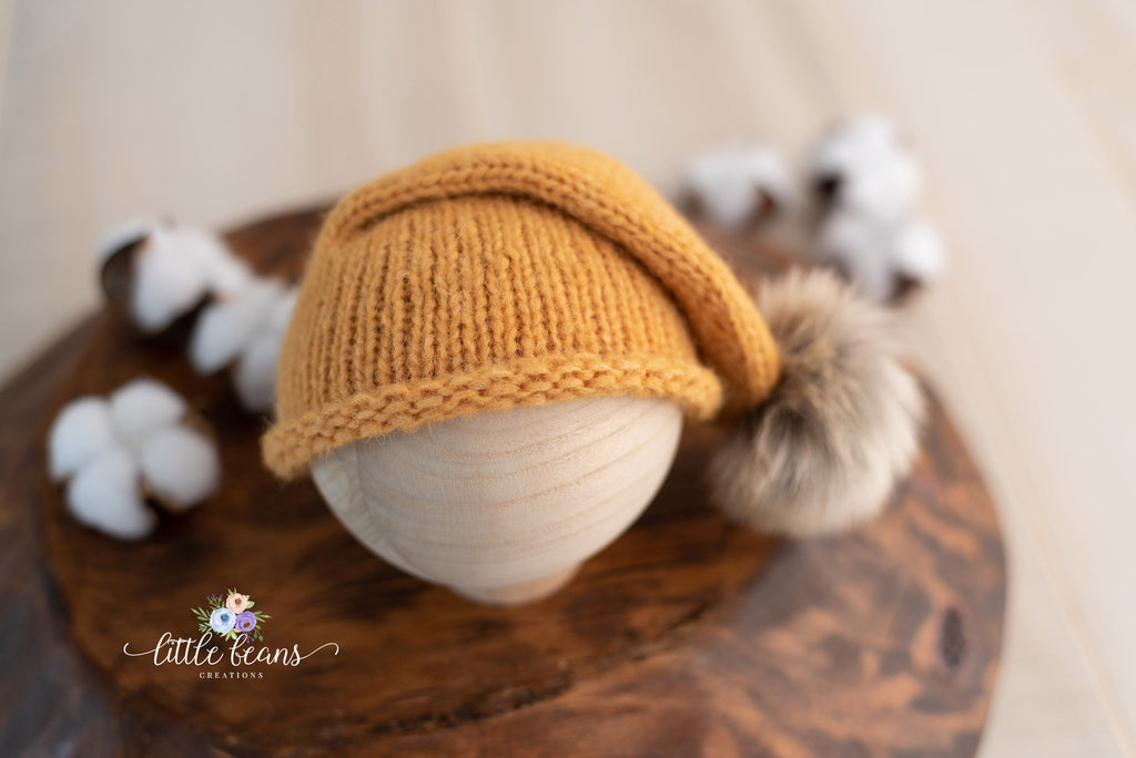 Fur Pom Pom Beanie in Gold
