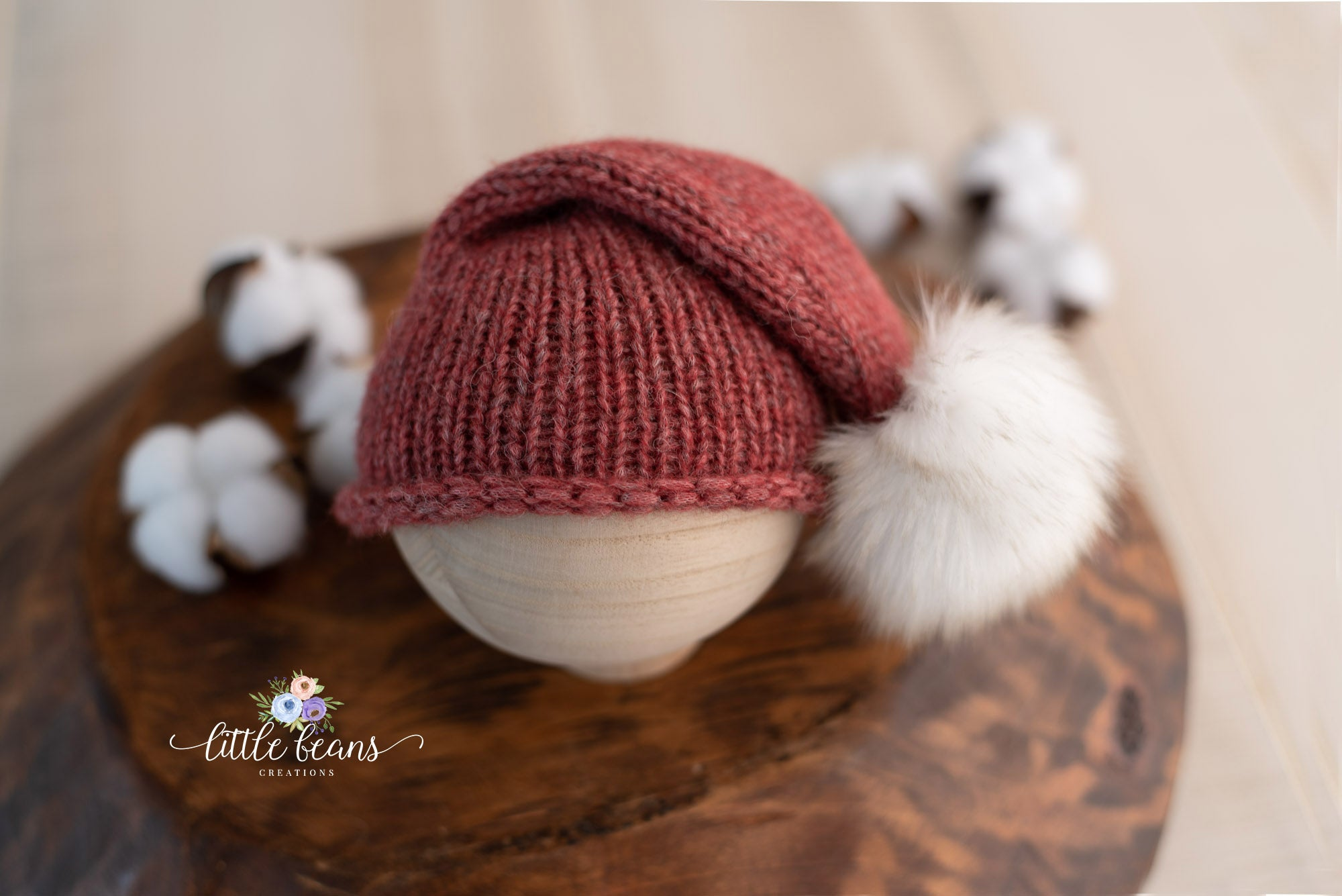 Fur Pom Pom Beanie in Brick Red