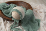 Sage Textured Bonnet and Wrap