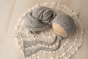 Light Grey Tweed Alpaca Bonnet or Wrap