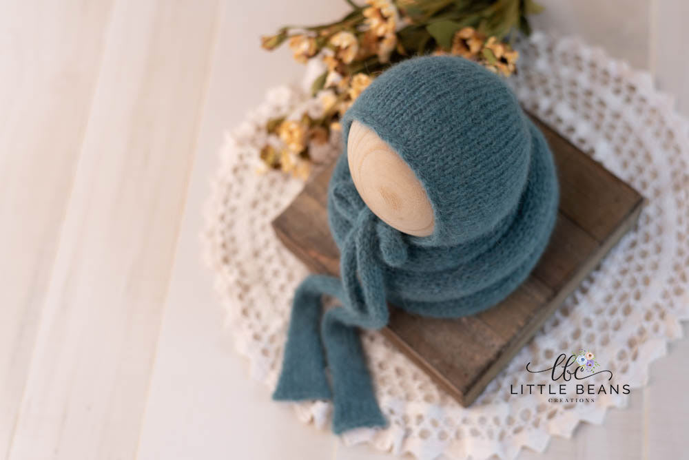 Teal Blue Bonnet and Wrap