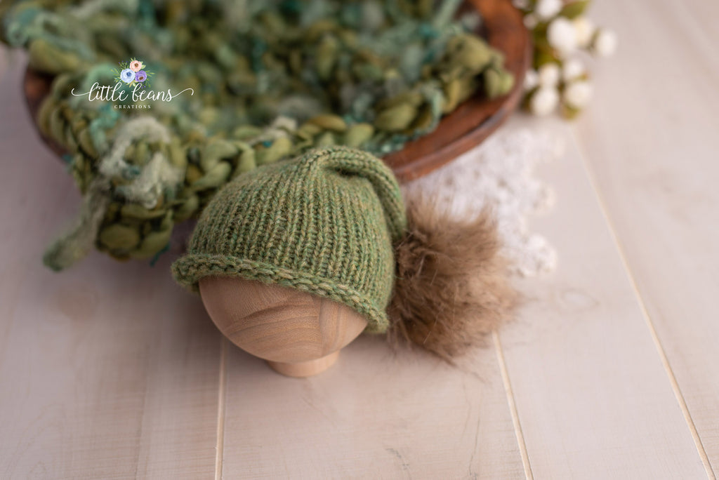 Green Pom Pom Beanie and Curly Locks Layer