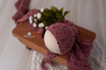 Fuzzy Cranberry Bonnet and Wrap