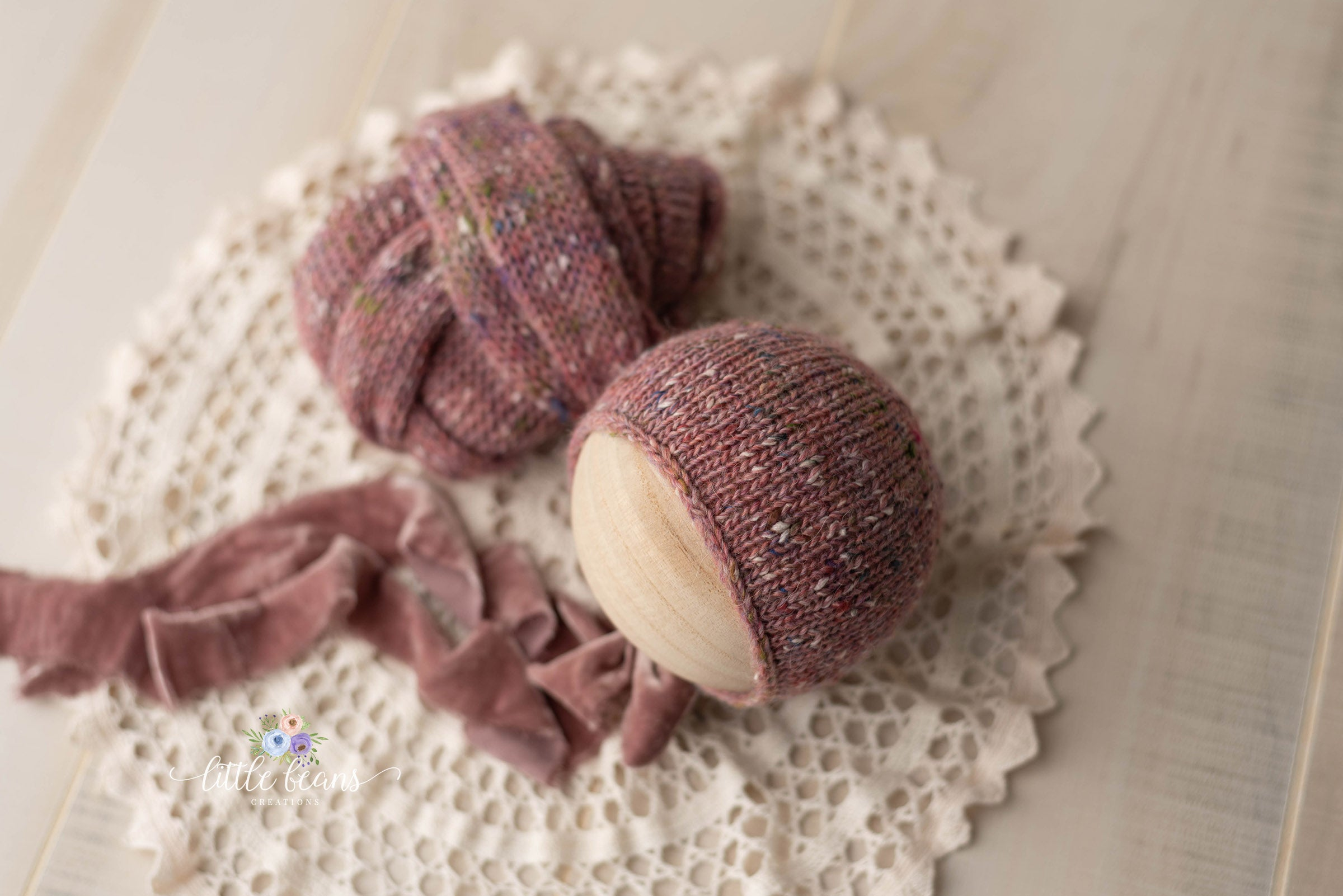 Rose Tweed Bonnet or Wrap
