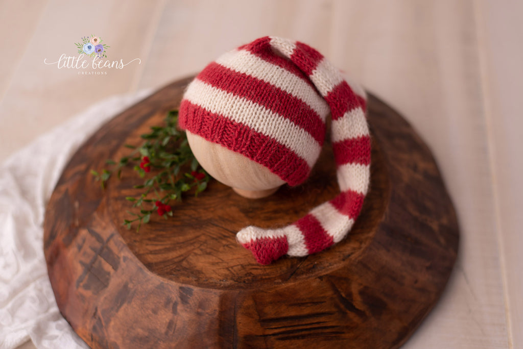 Newborn Red and White Sleepy Hat