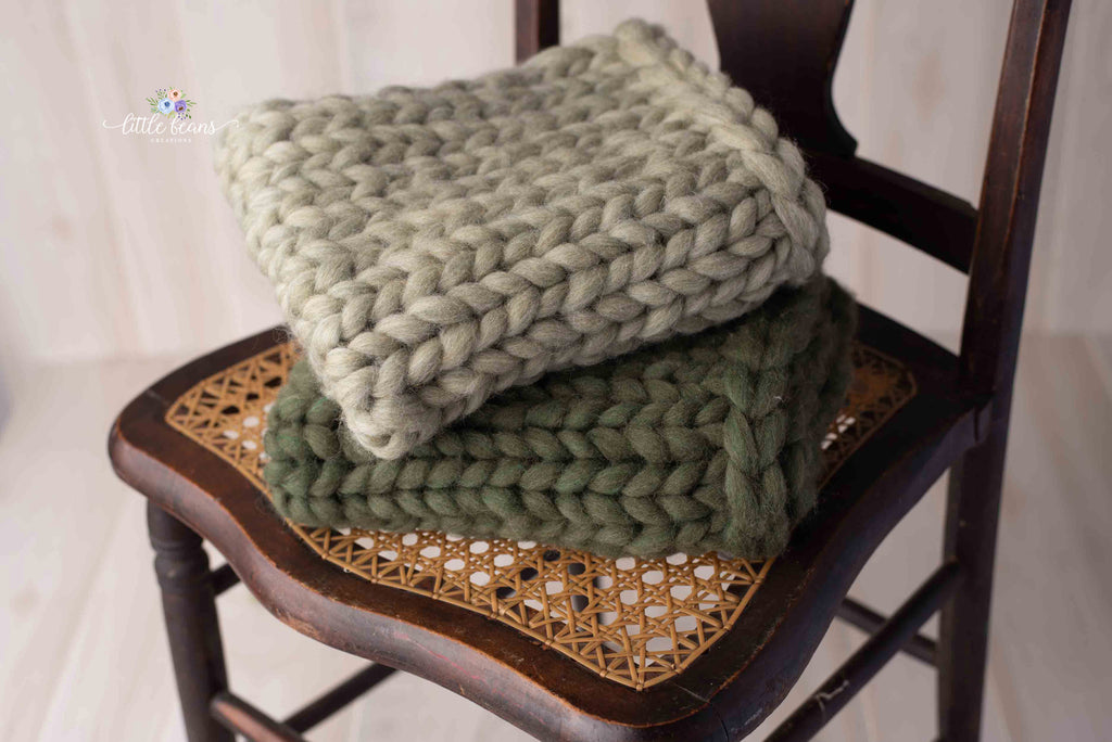 Sage or Moss Knit Layering Blanket
