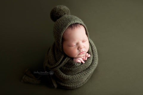 Olive Pom Pom Bonnet, Bonnet, Sleepy Hat, and/or Wrap