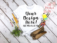 Bella Canvas 3413 or 3001 White T-shirt Tshirt Mock Up MockUp Image  - Shirt Mock Up - Back to School - Flat Lay Image - Flatlay -  7/19